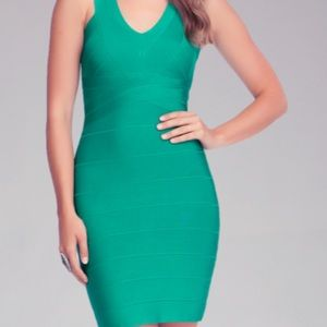 bebe bandage dress emerald green S